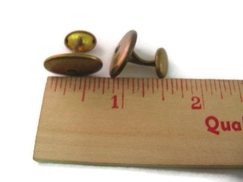 Antique Vintage Cufflinks for Men Clear Jewel Gold Tone Oval Design