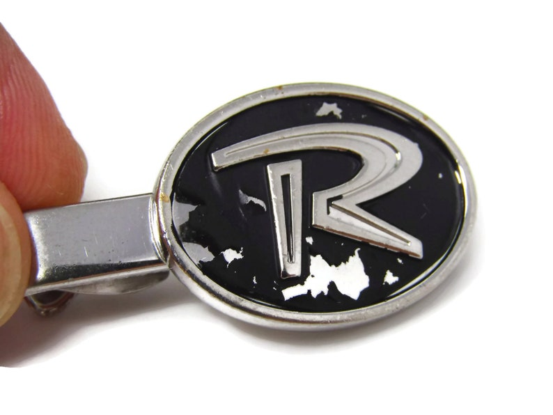 Letter R Initial R Retro Design Vintage Tie Clip Tie Bar