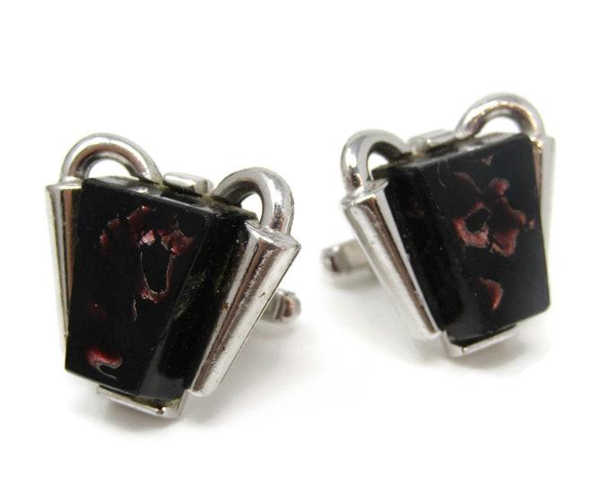 Modernist Art Black Glass Cufflinks for Men's Vintage Men's Jewelry Nice Design