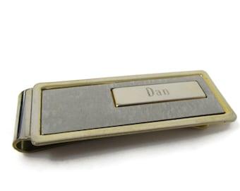 DAN Money Clip Vintage Gold Tone Nice Sleek Design