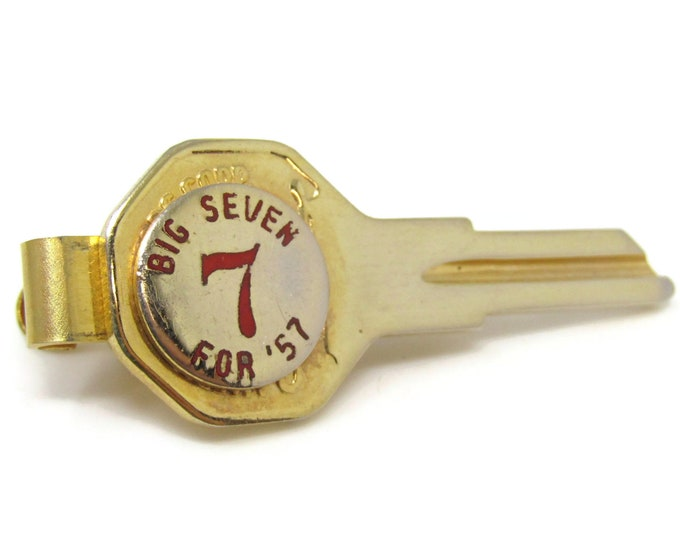 Big Seven 7 in 57 Key Tie Bar Clip Gold Tone Stand Out w/ Style Fit In with Class