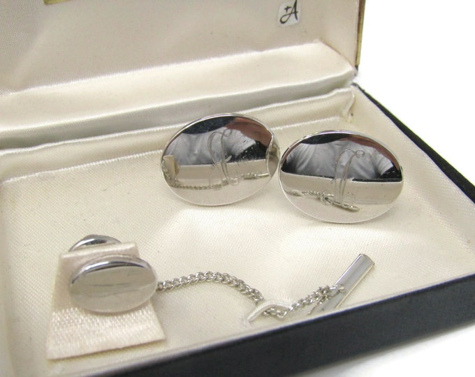 Letter A Initial Men's Jewelry Set Cufflinks Tie Tack Pin: Vintage Silver Tone - Stand Out from the Crowd with Class