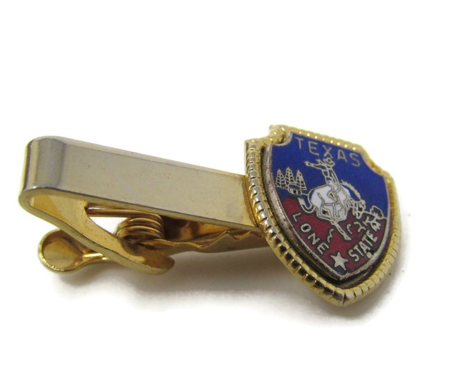 Texas Lone State Tie Bar Clip Vintage Gold Tone Stand Out w/ Style Fit In with Class
