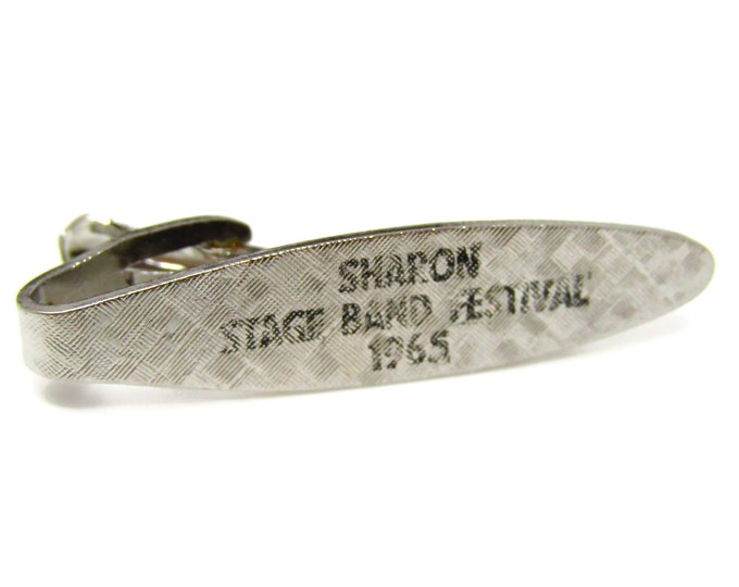 Sharon Stage Band Festival 1965 Tie Clip Men's Vintage Tie Bar Silver Tone
