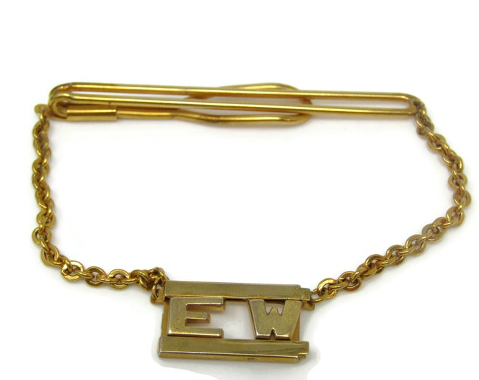 EW Art Deco Chain Design Tie Bar Clip Gold Tone Stand Out w/ Style Fit In with Class