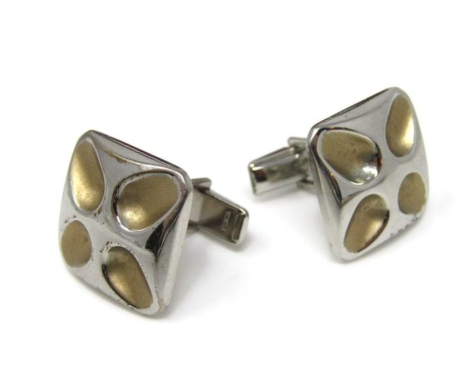 Vintage Cufflinks for Men: Modernist Flower Stylized Silver Tone