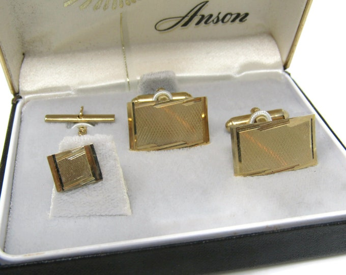 Modernist Men's Jewelry Set Cufflinks Tie Tack Pin: Vintage Gold Tone - Stand Out from the Crowd with Class