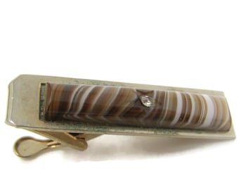 Brown White Striped Glass Star Center Tie Bar Clip Vintage Gold Tone Stand Out w/ Style Fit In with Class