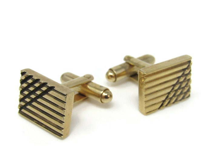 Stunning Crossed Lines Grooves Cufflinks for Men's Vintage Men's Jewelry Nice Design