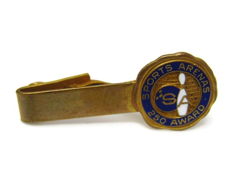 SA Sports Arena Bowling Tie Clip Vintage Mens Tie Bar Bowler 250 Award Gift for Dad Son Husband Brother