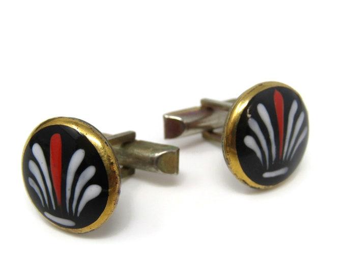 Painted Glass Flower Cufflinks for Men's Vintage Men's Jewelry Nice Design