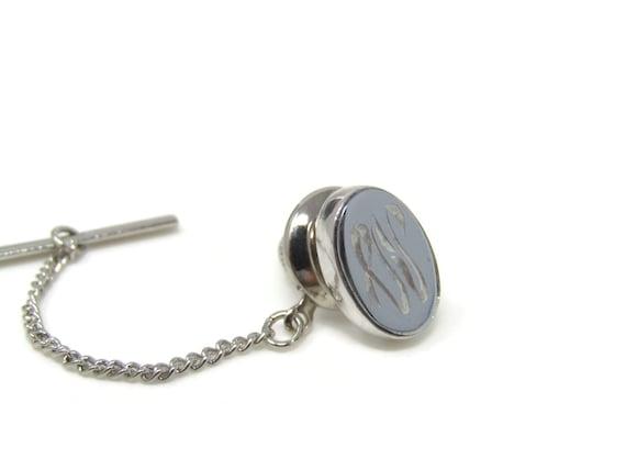 Vintage Tie Tack Tie Pin Fancy Script A Letter A Initial Etched