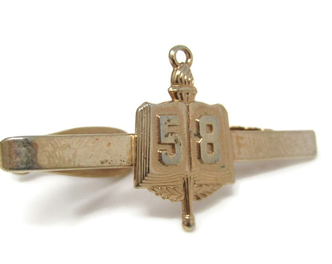 1956 56 Book School Award Tie Bar Clip Vintage Gold Tone Stand Out w/ Style Fit In with Class