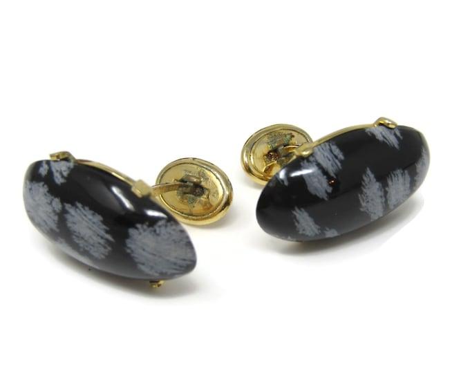 Vintage Cufflinks for Men: Snowflake Obsidian Oval Beautiful Design