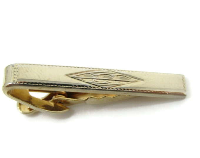Etch Center Design Tie Bar Clip Gold Tone Stand Out w/ Style Fit In with Class