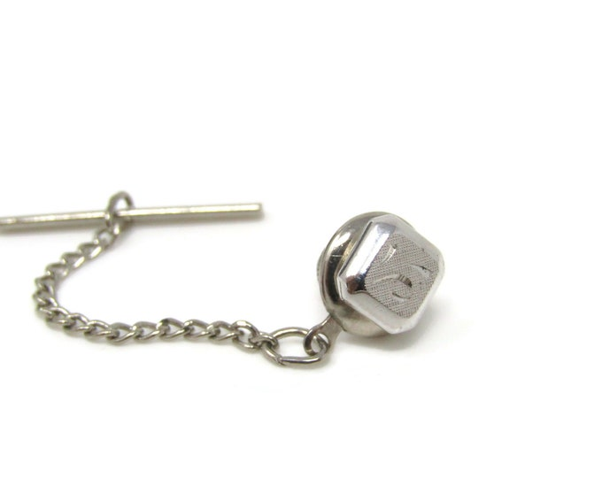 Etched Square Tie Tack Pin Vintage Men's Jewelry Nice Design