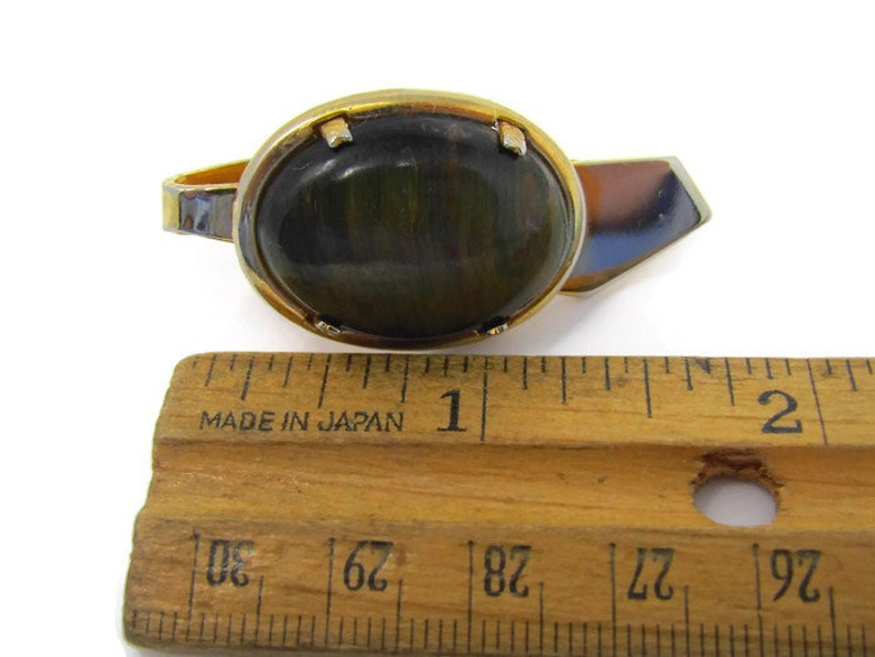 Nice Design Gold Tone Dark Tiger/'s Eye Beautiful Tie Clip Vintage Tie Bar
