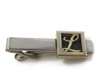 Letter L Initial Cursive Design Tie Clip Bar Faded Silver Tone Vintage Men's Jewelry Nice Design