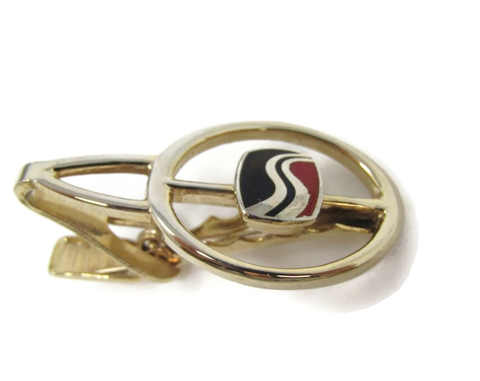 Black Red Road Logo Tie Bar Clip Vintage Gold Tone Stand Out w/ Style Fit In with Class