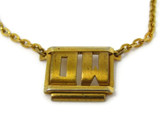 Letters OW Tie Clip Men's Vintage Tie Bar Gold Tone Art Deco Chain Design