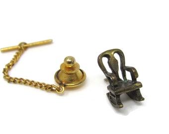 Rocking Chair Tie Tack Pin Vintage Men's Jewelry Nice Design