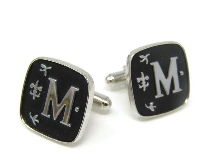 Letter M Initials Cufflinks for Men's Vintage Men's Jewelry Nice Design