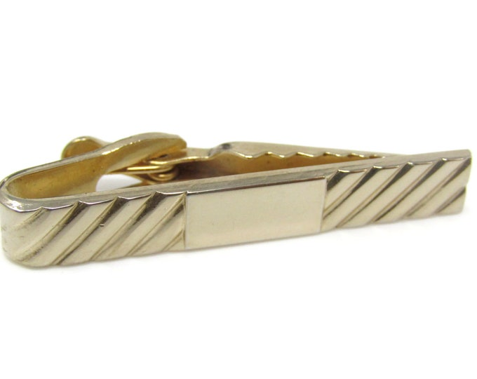 Grooves Ends Smooth Center Design Tie Bar Clip Gold Tone Stand Out w/ Style Fit In with Class