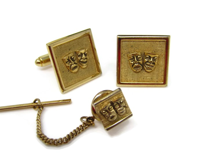 Vintage Mens Jewelry Set Tie Tack Pin Cufflinks: Comedy & Tragedy Mask Actor Gift Gold Tone
