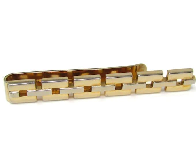 Large Chain Link Tie Clip Men's Vintage Tie Bar Gold Tone High Quality