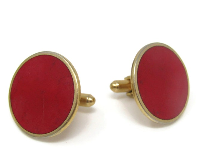 Large Red Circles Cufflinks for Men's Vintage Men's Jewelry Nice Design