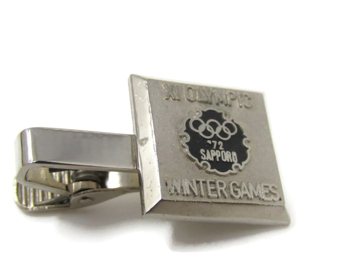 1972 Sapporo XI Olympics Winter Games Tie Bar Clip Silver Tone Stand Out w/ Style Fit In with Class