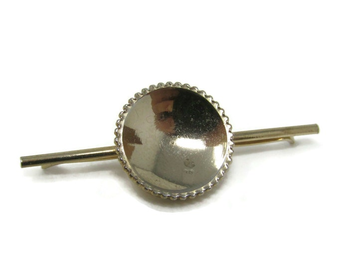 Tie Collar Bar Clip: Dish Center Nice Border Gold Tone Vintage Men's Jewelry Nice Design
