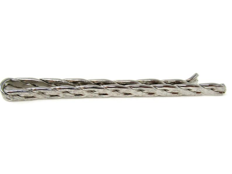 Rope Twist Tie Clip Men/'s Vintage Silver Tone Nice Design