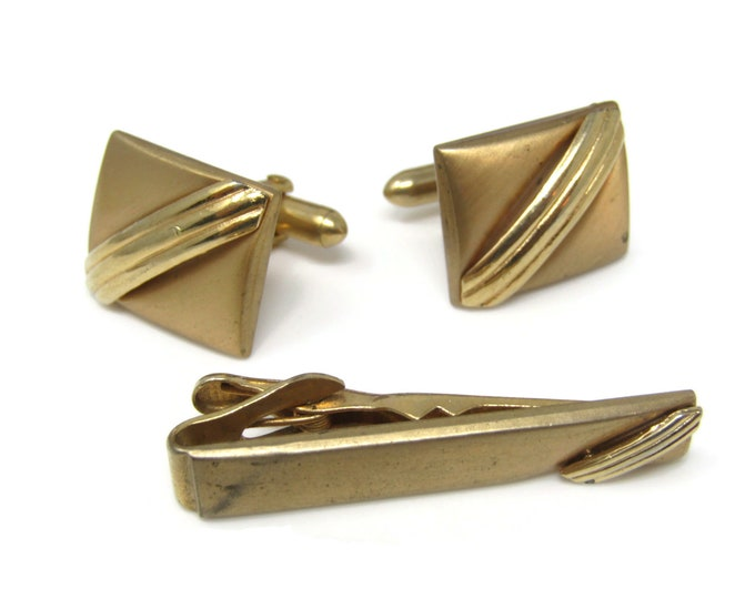Center Stripes Men's Jewelry Set Cufflinks Tie Bar Clip: Vintage Gold Tone - Stand Out from the Crowd with Class