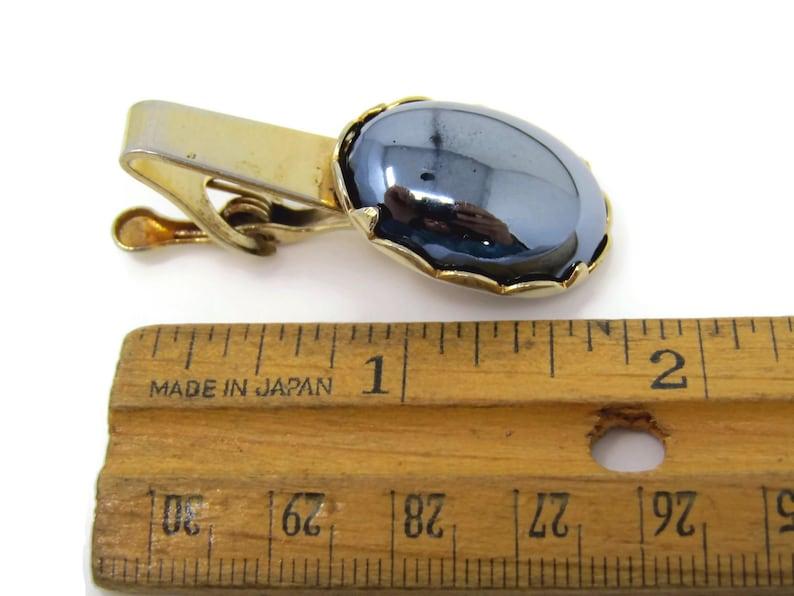 Vintage Tie Clip Tie Bar Large Hematite Cabochon Accent Nice Design Good Quality