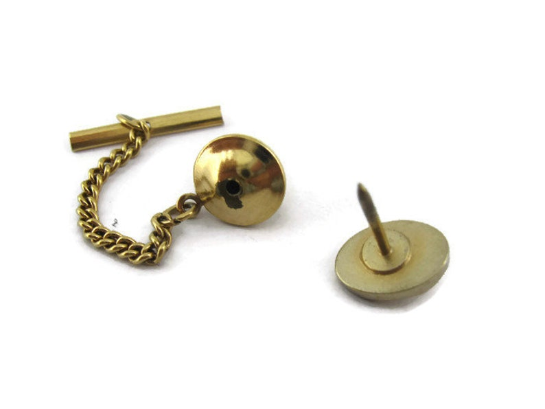 Creased Middle Design Small Flower Etch Gold Tone Oval Vintage Tie Tack Tie Pin