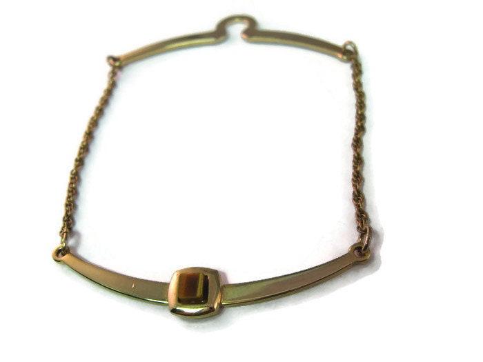Tie Chain Vintage Button Hook Design Gold Tone