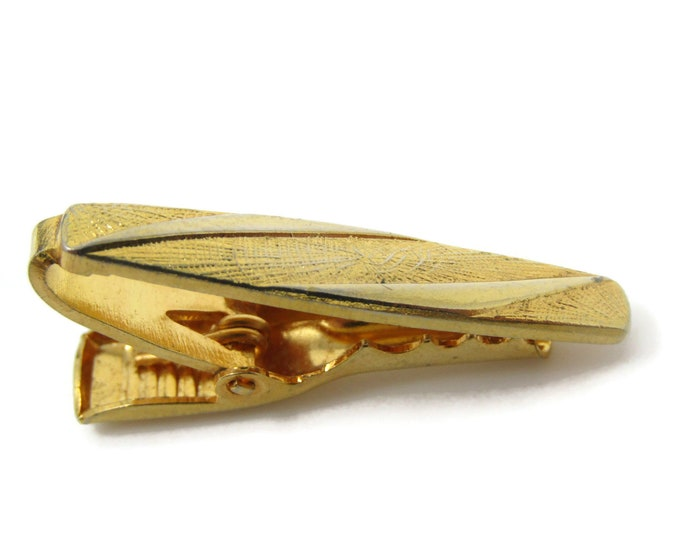 Modernist Design Tie Bar Clip Vintage Gold Tone Stand Out w/ Style Fit In with Class