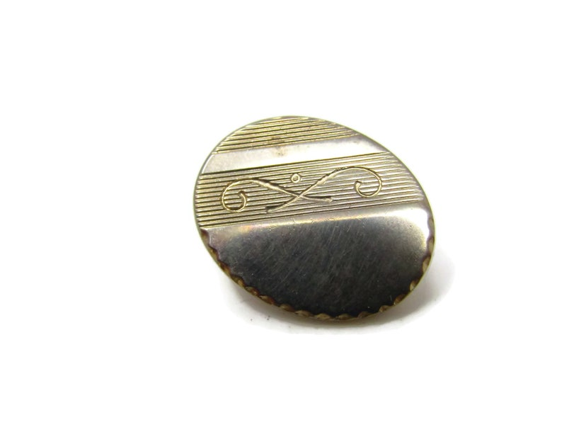 Vintage Tie Clip Tie Bar Crossed Curled Lines Dot Center Small Oval