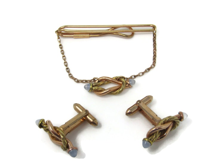 Interlocking Knot Design High Quality Men's Jewelry Set Cufflinks Tie Bar Clip: Vintage Gold Tone - Stand Out from the Crowd with Class