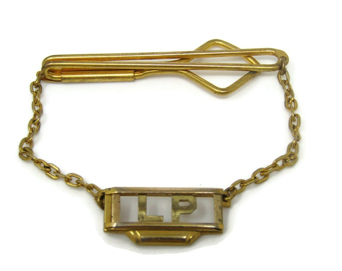 LP Art Deco Tie Bar Clip Gold Tone Stand Out w/ Style Fit In with Class