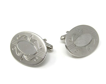Large Fancy Oval Men's Cufflinks: Vintage Silver Tone - Stand Out from the Crowd with Class