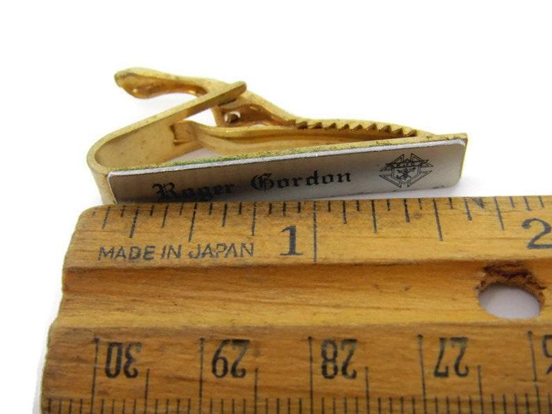 Gold Tone Roger Gordon Tie Clip Vintage Tie Bar