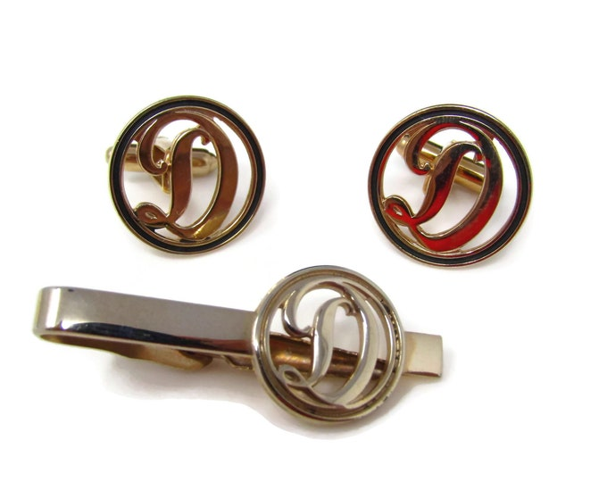 Vintage Mens Jewelry Set Tie Clip Cufflinks: Letter F Initials Beautiful Calligraphy