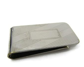Retro Faded Gold Tone Money Clip Vintage Stripes Design