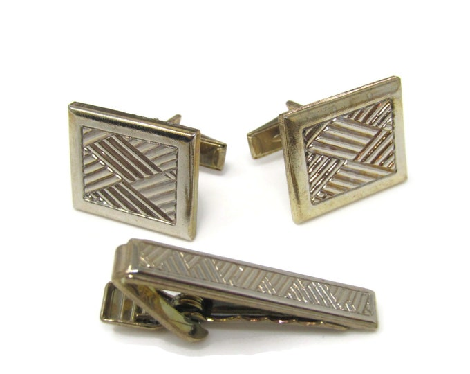 Quilt Overlapping Design Men's Jewelry Set Cufflinks Tie Bar Clip: Vintage Gold Tone - Stand Out from the Crowd with Class