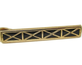 Criss Cross X Gorgeous Tie Clip Men's Vintage Tie Bar Gold Tone Nice Quality