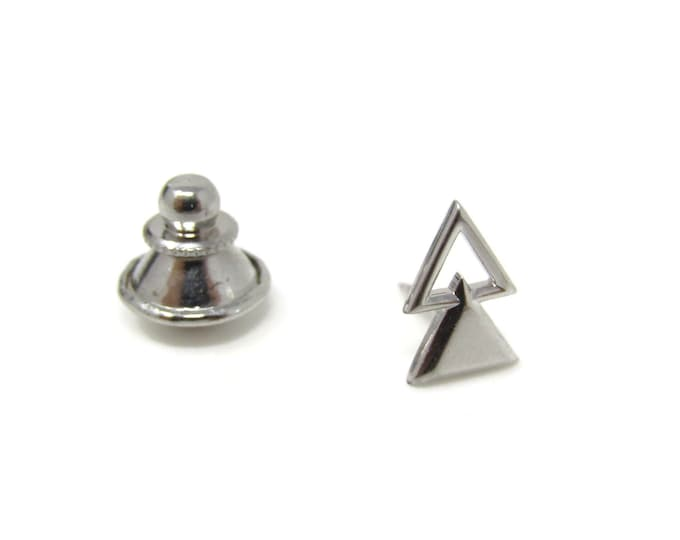 Modernist Triangles Stacked Tie Tack Pin Vintage Men's Jewelry Nice Design