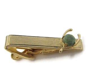 Wishbone Green Stone Tie Bar Clip Vintage Gold Tone Stand Out w/ Style Fit In with Class