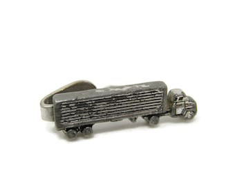 Semi Truck Tie Bar Clip Vintage Silver Tone Stand Out w/ Style Fit In with Class (Obvious Wear)